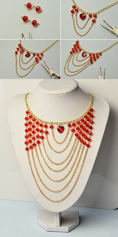 red glass beads chain necklace, the tutorial will be shared by LC.Pandahall.com soon.