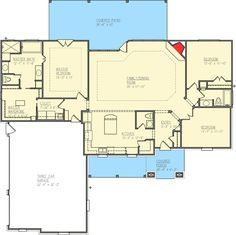 2101 sq ft. Stand-Out Ranch House Plan - 100006SHR   1st Floor Master Suite, Butler Walk-in Pantry, Corner Lot, Ranch, Split Bedrooms, Traditional   Architectural Designs
