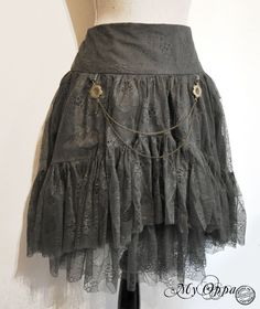 skirt mori steampunk lace green kaki