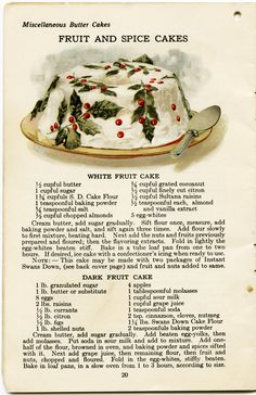 New vintage christmas food fruit cakes 63 Ideas Retro Recipes, Old Recipes, Vintage Recipes, Vintage Food, 1950s Recipes, Recipies, Vintage Baking, Vintage Cakes, Cooking Recipes