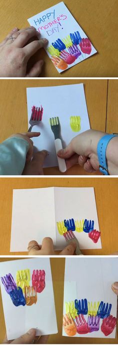 'Fork' Tulips | DIY Mothers Day Card Ideas for Children | Easy Birthday Cards to Make for Mom