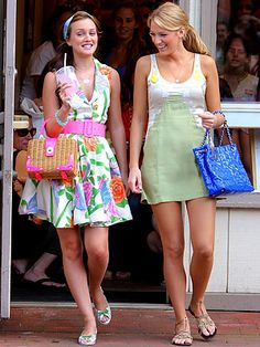 Blair wears an Alice + Olivia dress, Susan Daniels headband, Lulu Guinness shoes and carries a Kate Spade bag. Serena wears a Vena Cava dress, Helen Ficalora necklace, Te Casan shoes and carries a Chanel bag.