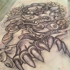 #morningwood Foo Dog for this afternoons back piece tattoo. Gonna be a doozy of…