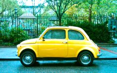 vintage yellow baby car