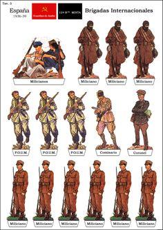Brigadas Internacionales, uniformes. Spanish War, Paper Aircraft, Confederate Flag, Paper Models, Paper Toys, Dieselpunk, Military History, Paper Cutting, Military Uniforms