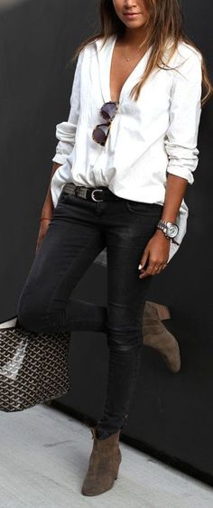 Casual Tuck Button Up Top, Black Skinnies, Nude Booties #comfy