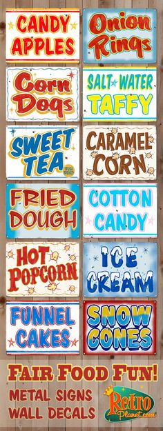 Fair Food Fun Signs! Candy Apples, Onion Rings, Corn Dogs, Salt Water Taffy, Swear Tea, Fried Dough, Ice Cream, and more! Perfect decoration for kids room or kitchen!