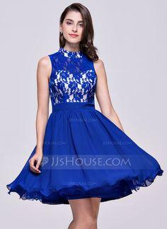 A-Line Princess High Neck Short Mini Chiffon Lace Homecoming Dress c8ad3e4c80