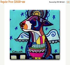 45% Off Today- Miniature Bull Terrier angel art Tile Ceramic Coaster Mexican Folk Art Print of painting by Heather Galler dog Dog Gift