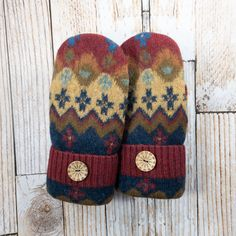 Excited to share this item from my shop: Sweater Mittens - Super Warm! upcycled, felted wool and DOUBLE lined, maroon, mustard, suede palm Sweater Mittens, Wool Sweaters, Softies, Wool Felt, Upcycle, Sewing Projects, Handmade Items, Warm, Knitting Ideas
