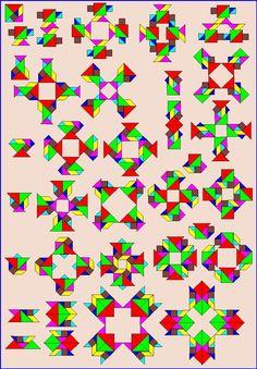 Puzzelen met ronde en vierkante tangrams - Vierkante tangram - Pagina KV13