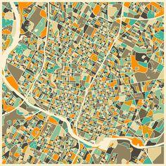 Poster | AUSTIN MAP von Jazzberry Blue