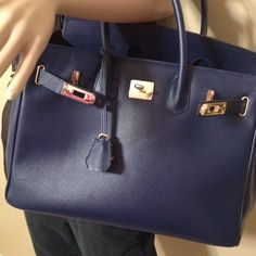 1140517a23d Selling this PREOWNED BIRKIN STYLE 35CM BLUE LEATHER BAG W LOCK in my  Poshmark closet