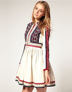 asos embroidered shirt dress with contrast trim. $163.77