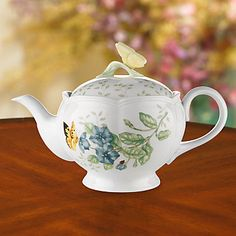 Butterfly Meadows Teapot by Lenox  This one is on my Wish List. Luv it.