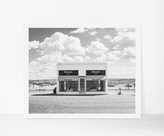 Prada Marfa Printable Poster, Marfa Texas Printable Art, Black and White Landscape Printable Photography, Modern Art, Texas Instant Download