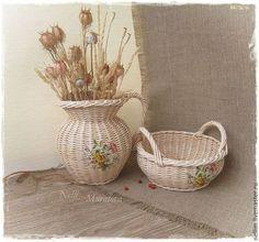 """Кувшин и корзиночка """"Очарование лета"""" - жёлтый,набор для кухни,плетеный набор для кухни"""