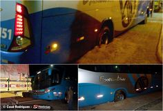 """Um ônibus da Viação Progresso com o prefixo nº 6151, que faz a linha de Triunfo à Recife - PE """"atolou"""" na noite deste sábado (23 de fevereiro de 2013), na Praça Nossa Senhora de Lourdes, em Carnaíba."""