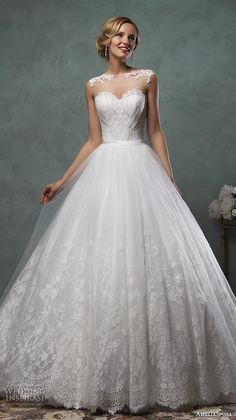 amelia sposa 2016 wedding dresses stunning cap sheer bateau neckline scallop sweetheart tulle ball gown a line dress valery