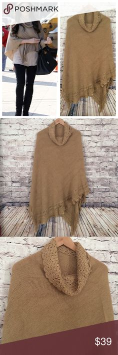 TAN FRINGED PONCHO New without tags fringed poncho. One Size. Super soft. Bundle and save  Sweaters Shrugs & Ponchos