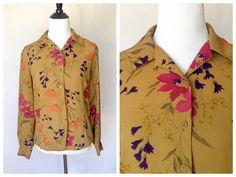 Vintage Floral Blouse | 80s Blouse | Floral Top | Chaus Blouse | Small Floral Top | Medium Floral Top