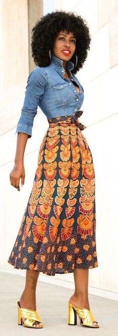 Denim Shirt + Printed Wrap Midi Skirt, Golden Mules | African Print Spring Style