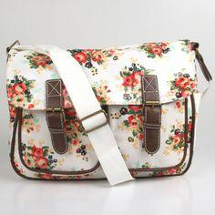 White Floral Satchel
