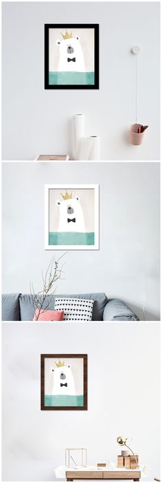 Cartoon Watercolor Crown polar bear decoration Canvas Art Print Painting Poster oil paintings wall picture kids room home decor