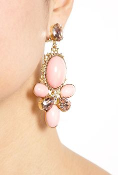 Pink Triple Cabouchon Cluster Earring by Anton Heunis