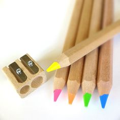 Amazon.com : Eco Highlighter Pencils - Set of 5 Colors - Will Not Bleed or Dry Out - Includes Wooden Sharpener : Office Products