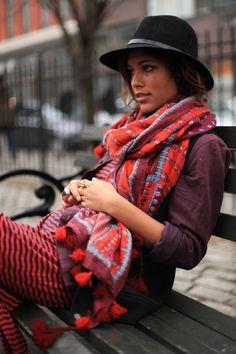 Chunky boho scarf, striped maxi, black trilby, casual maroon blazer. Winter layers.