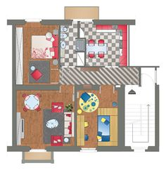 Ristrutturazione e Arredo Appartamento in Palazzina d'epoca - Pianta piano primo - Maria Teresa Azzola Designer - Milano 2006