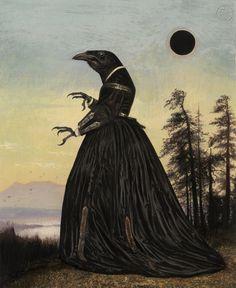 Art And Illustration, Art Illustrations, Crow Art, Raven Art, Fantasy Kunst, Fantasy Art, Potnia Theron, Images Emoji, Arte Peculiar