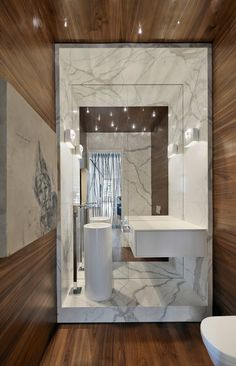 Large Mirror, Modern Sink, Bathroom, Yorkville Penthouse II in Toronto, Canada by Cecconi Simone Bathroom Spa, Bathroom Toilets, Bathroom Interior, Master Bathroom, Bathroom Marble, Apartment Interior, Marble Bath, Bathroom Remodeling, Bathroom Fixtures
