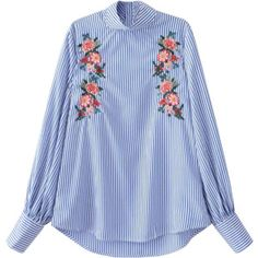 Floral Embroidered Striped Blouse