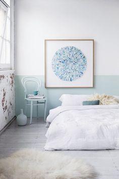 8 cabeceros pintados en la pared · 8 headboards painted on the wall Home Bedroom, Bedroom Decor, Bedroom Wall, Bedroom Artwork, Bedroom Interiors, Wall Decor, White Interiors, Bedroom Ideas, Half Painted Walls