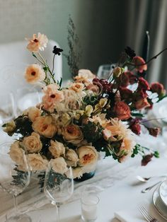 Ombre floral centrepiece by Pollen Nation; photography by Joel & Justyna Bedford; Wedding Centrepieces, Fall Wedding Decorations, Floral Centerpieces, Table Decorations, Home Wedding, Autumn Wedding, Elegant Wedding, Country Weddings, Ikebana
