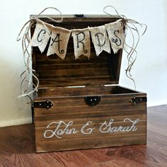 Large Shabby Chic Rustic Wooden Card Box Wedding Card Box  --- for Stephanie and Eric