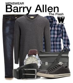 """The Flash"" by wearwhatyouwatch ❤ liked on Polyvore featuring 21 Men, Banana Republic, SELECTED, Giorgio Fedon 1919, Tommy Hilfiger, Anderson's Belts, Converse, television, wearwhatyouwatch and menswear"
