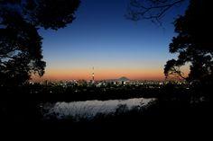 Night View of Mt. Fuji, Tokyo Sky Tree and Tokyo tower From Satomi Park,Ichikawa,Japan 市川市・里見公園からの富士山・東京スカイツリー・江戸川の夜景