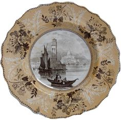"E. Wood ""No. 106"" Series,  Venice Plate, 7 inches.  Made by Enoch Wood & Sons (1818-1836), this pattern is part of a series of European scenes that is known as ""No. 106"" Series. This pattern pictures St. Pietro de Castello in Venice, after a drawing by Clarkson Stanfield that was engraved and published in ""Heath's Picturesque Annual for 1832"". Yellow is one of the less common colors found on transferware."