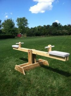 DIY teeter totter. DIYer says it took just a few hours! #buildachildrensplayhouse #kidsoutdoorplayhouse