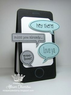 nice people STAMP!: Smart Phone Valentine, Word Bubbles Framelits, Just Sayin Stamp Set, Punch Art - Stampin Up! by Allison Okamitsu