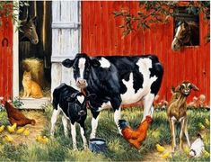 Mosaic Pictures, Down On The Farm, Cross Paintings, Art Paintings, 5d Diamond Painting, Creative Activities, Paint By Number, Diy Painting, Farm Animals