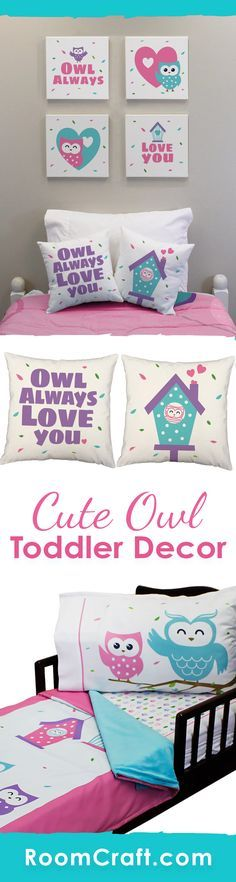 Hoot Hoot Hoo! Your little girl will go crazy over these adorable owl toddler bedding and room decorations. She can cuddle up with the super soft minky blanket on her coordinating fitted sheet and pillowcase. The cute throw pillows are perfect for her to relax against in a window seat or reading corner. And complete the look with some adorable wall art canvases. Our Owl Always Love You toddler collection makes decorating fun and easy! #roomcraft