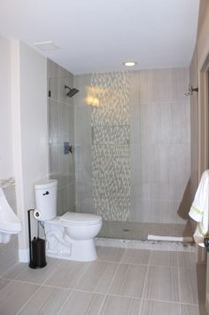 glass wall shower with mosaic liner