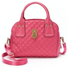 Juicy Couture Sporty Convertible Satchel (Pink) ($40) ❤ liked on Polyvore featuring bags, handbags, pink, pink handbags, vegan handbags, juicy couture, red handbags y satchel handbags