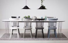 Dining table with 6 chairs - Decor - Wooden Dining Tables, Dining Table Chairs, Room Chairs, Cute Furniture, Painted Furniture, Beddinge, Home Interior, Interior Design, Cosy Room