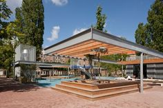 Completed in 2011 in Amsterdam, The Netherlands. Images by Ewout Huibers. Van Beuningen square is located at the van Hallstraat, West district of Amsterdam. Building an underground two-layer parking facility gives cause for. Hot Tub Pergola, Steel Pergola, Wood Pergola, Pergola Shade, Pergola Patio, Pergola Plans, Pergola Kits, Pergola Ideas, Roof Ideas