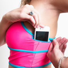 Also known as, let me sweat on my phone as it gives me breast cancer!...  Fab.com | The Jaclyn Pouch Bra Fuchsia